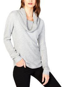 NY Collection Womens Petites Metallic Cowl-Neck Pu