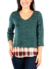 NY Collection Womens Petites Studded Plaid Pullove