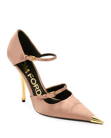 TOM FORD Two-Strap Satin Mary Jane Pumps with Poin