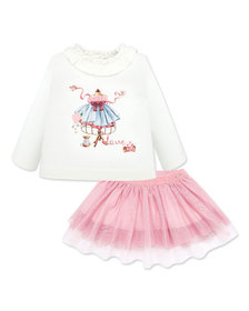 Mayoral Girl's Ruffle Trim Graphic Tee w/ Tulle Sk
