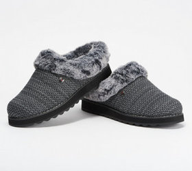"""As Is"" Skechers BOBs Knit Faux Fur Charcoal Clog"