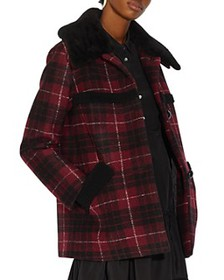 COACH - Shearling-Trimmed Plaid Coat