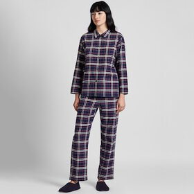 WOMEN STRETCH FLANNEL LONG-SLEEVE PAJAMAS, NAVY, m