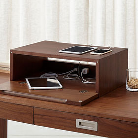 Crate Barrel Aspect Walnut Charging Station with P