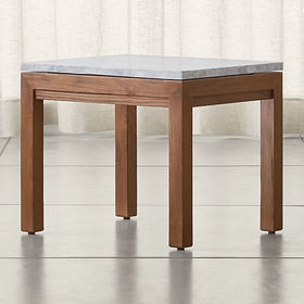 Crate Barrel Parsons White Marble Top/ Elm Base 20