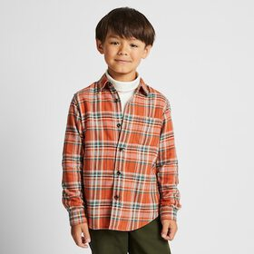 KIDS FLANNEL CHECKED LONG-SLEEVE SHIRT, ORANGE, me