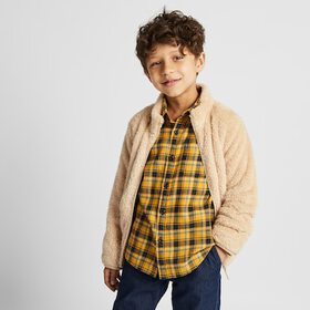 KIDS FLANNEL CHECKED LONG-SLEEVE SHIRT, YELLOW, me