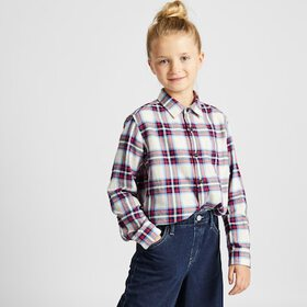 KIDS FLANNEL CHECKED LONG-SLEEVE SHIRT, OFF WHITE,