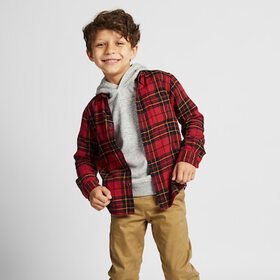 KIDS FLANNEL CHECKED LONG-SLEEVE SHIRT, RED, mediu