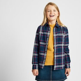 KIDS FLANNEL CHECKED LONG-SLEEVE SHIRT, NAVY, medi