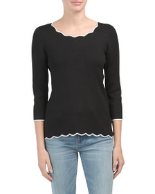 CABLE & GAUGE Scalloped Pullover Sweater