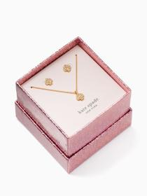 signature spade pave pendant and studs boxed set
