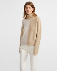 Cashmere Color Block Turtleneck Sweater