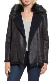 NVLT Faux Suede Moto Jacket with Faux Fur Collar