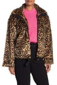 Rebecca Minkoff Brigit Faux Fur Animal Print Jacke