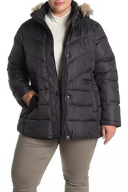 Larry Levine Chevron Quilted Faux Fur Trim Jacket