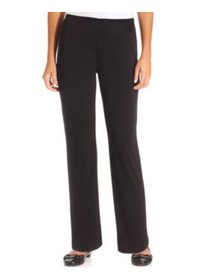 NY Collection Petite Pants, Pull-On Straight Black