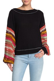 Free People Colored Balloon Sleeve Knit Sweater