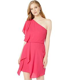 Halston Flowy One Shoulder Dress with Draped Skirt