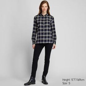 WOMEN FLANNEL CHECKED LONG-SLEEVE SHIRT, NAVY, med
