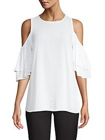MICHAEL Michael Kors Ruffled Cold-Shoulder Top WHI