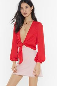Nasty Gal Red Hang Me Up to Dry Tie Blouse
