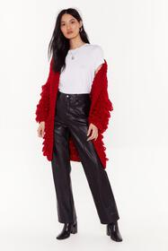 Nasty Gal Red Out the Loop Knitted Cardigan