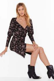 Nasty Gal Black Thistle Be a Wild Night Floral Wra