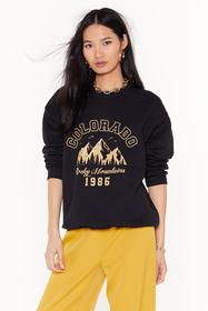 Nasty Gal Black Catch Me in Colorado Graphic Sweat