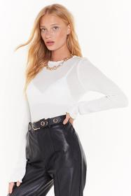 Nasty Gal White Dance Frill Dawn Ribbed Top