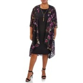 GLAMOUR Plus Size Dress with Necklace and Floral C