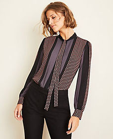 Sunflower Stripe Tie Neck Blouse