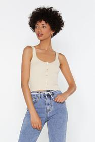 Nasty Gal Ecru Mother Of Pearl Rib Knitted Cami To
