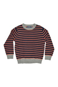 Toobydoo Stripe Print Crew Neck Sweater (Toddler