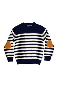Toobydoo Long Sleeve Elbow Patch Striped Sweater (