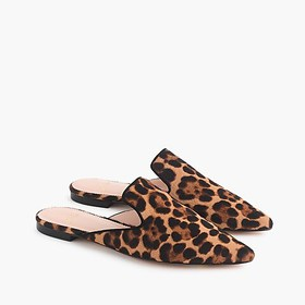 J. Crew Pointed-toe slide in leopard calf hair