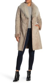Via Spiga Faux Fur Collar Faux Suede Coat