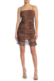 4SI3NNA Inaya Leopard Side Ruche Dress