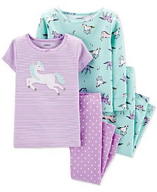 Baby Girls 4-Pc. Cotton Unicorn Pajama Set