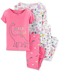 Baby Girls 4-Pc. Cotton Sparkle-Saurus Dinosaur Pa