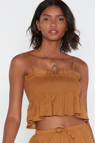 Nasty Gal Turmeric Strappy Thoughts Shirred Crop T