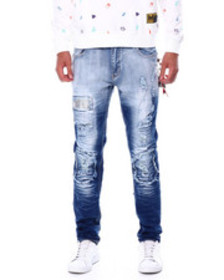 Buyers Picks checkerboard patch ripped jean