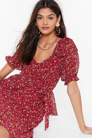 Nasty Gal Red I'm Nothing Bud Trouble Floral Mini