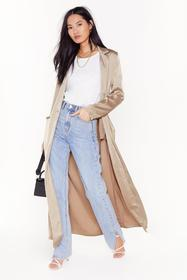 Nasty Gal Taupe satin duster coat