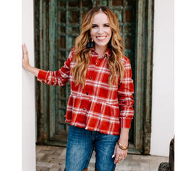 Rachel Hollis Ltd. Button Front Flannel Peplum Top