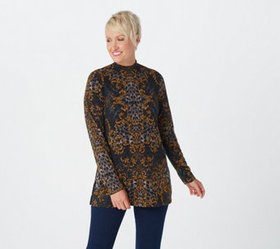 """""""As Is"""" Susan Graver Printed Sweater Knit Mock-Nec"""