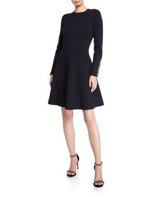 Lela Rose Textured Knit Long-Sleeve Full-Skirt Dre