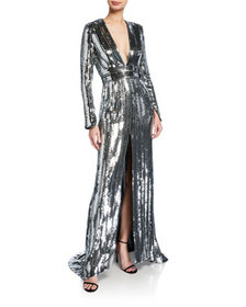 Galvan Sequin-Striped Long-Sleeve Deep V Gown