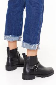 Nasty Gal Black Ring Me Up Faux Leather Boots