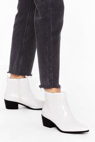 Nasty Gal White Headin' West Faux Leather Croc Boo